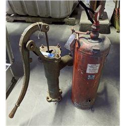 vintage fire extinguisher and vintage fire pump