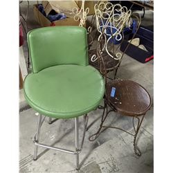 4 vintage palour chair, 2 planters and 1 retro green leather chair