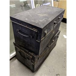 2 black metal chest