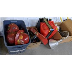 buckets of multiple tools, gasoline cans and construction hats