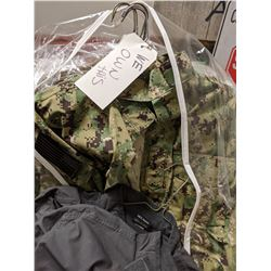 A box full of military outfits