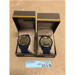 2 unlisted (kenneth cole) digital watches with blue rubber strap