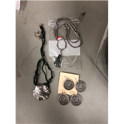 A silver sterling ring, 2 silver sterling necklaces and 2 pairs of silver sterling earrings