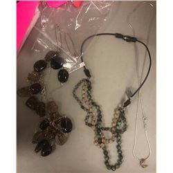 2 beaded necklaces and 1 necklace with crescent moon pendant