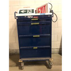 4 Drawer harloff tool box with misc signs and misc tools in the drawers