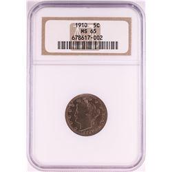1910 Liberty V Nickel Coin NGC MS65