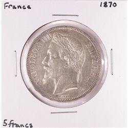 1870 France 5 Francs Napoleon Silver Coin