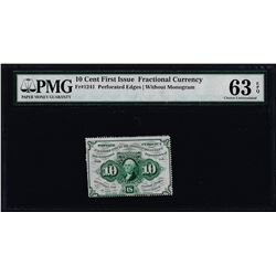 1862 10 Cent First Issue Fractional Note Fr.1241 PMG Choice Uncirculated 63EPQ