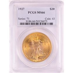 1927 $20 St. Gaudens Double Eagle Gold Coin PCGS MS66