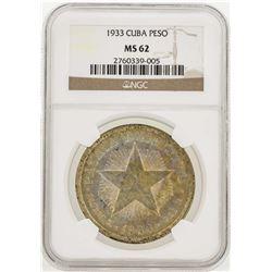 1933 Cuba Peso Silver Coin NGC MS62