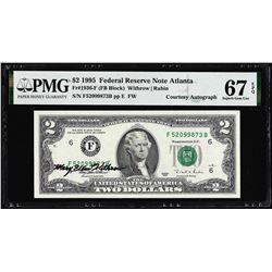 1995 $2 Federal Reserve Note PMG Superb Gem Uncirculated 67EPQ Courtesy Autograph