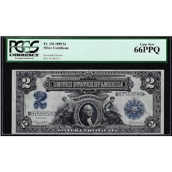 1899 $2 Mini-Porthole Silver Certificate Note Fr.256 PCGS Gem New 66PPQ