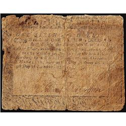 December 7, 1775 $1/6 Maryland Colonial Currency Note