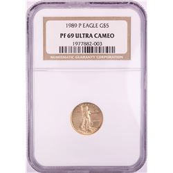 1989-P $5 Proof American Gold Eagle Coin NGC PF69 Ultra Cameo