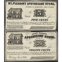 Lot of 1863 Five & Twenty Cents Mount Pleasant, MA Apothecary Store Obsolete Bank Notes