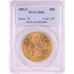 1891-S $20 Liberty Head Double Eagle Gold Coin PCGS MS62