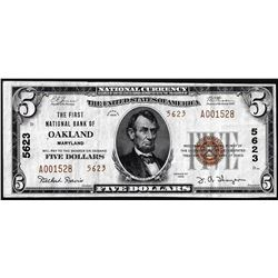 1929 Type 2 $5 First NB in Oakland, Maryland CH# 5623 National Currency Note