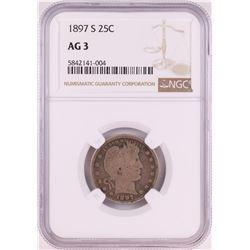 1897-S Barber Quarter Coin NGC AG3