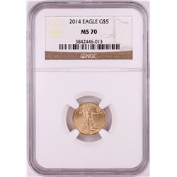 2014 $5 American Gold Eagle Coin NGC MS70