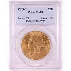 1903-S $20 Liberty Head Double Eagle Gold Coin PCGS MS62