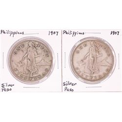 Lot of (2) 1907 Philippines One Peso Silver Coins