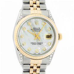 Rolex Men's Two Tone Steel & Gold MOP Diamond 36MM Datejust Wristwatch