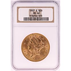 1907-S $20 Liberty Head Double Eagle Gold Coin NGC MS62