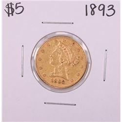 1893 $5 Liberty Head Half Eagle Gold Coin