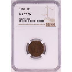 1901 Indian Head Cent Coin NGC MS62BN