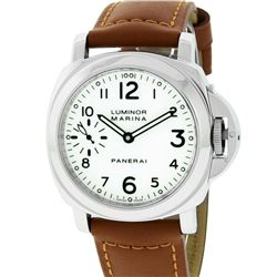 Panerai Men's Stainless Steel White Dial Luminor Marina 44mm Wristwatch With New Leather Strap