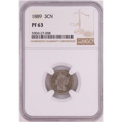 1889 Proof Three Cent Nickel Coin NGC PF63