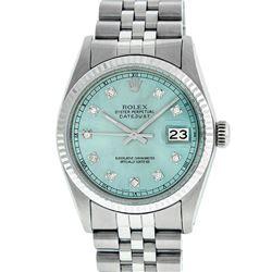 Rolex Men's Stainless Steel Ice Blue Diamond Datejust Wristwatch