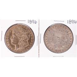 Lot of (2) 1896 $1 Morgan Silver Dollar Coins