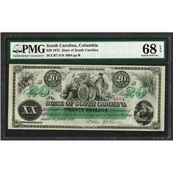 1872 $20 State of South Carolina Revenue Bond Obsolete Note PMG Superb Gem Unc. 68EPQ