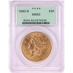1893-S $20 Liberty Head Double Eagle Gold Coin PCGS MS62 Old Green Holder