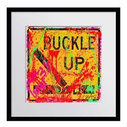 "E.M Zax ""Buckle Up"" Original Hand Painted Metal Street Sign"