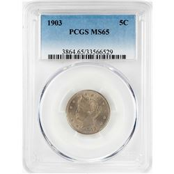 1903 Liberty V Nickel Coin PCGS MS65