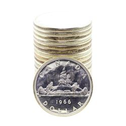 Roll of (20) Brilliant Uncirculated 1966 Canadian Silver Dollar Coins