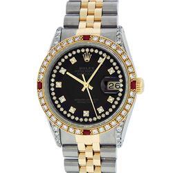 Rolex Men's Two Tone Steel & Gold Black String Diamond & Ruby Datejust Wristwatch