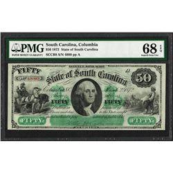 1872 $50 State of South Carolina Revenue Bond Obsolete Note PMG Superb Gem Unc. 68EPQ