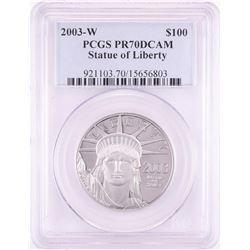 2003-W $100 Proof American Platinum Eagle Coin PCGS PR70DCAM