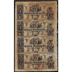 Uncut Sheet of (4) 1800's $5 Canal & Banking Co. New Orleans, Louisiana Obsolete Notes