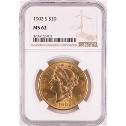 1902-S $20 Liberty Head Double Eagle Gold Coin NGC MS62