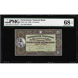 1952 Switzerland 5 Franken Note Pick# 11p PMG Superb Gem Uncirculated 68EPQ