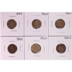 Set of 1859-1864 Copper Nickel Indian Cent Coins