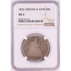 1853 Seated Liberty Half Dollar Coin Arrows & Rays NGC AG3