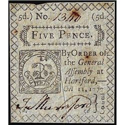 October 11, 1777 Connecticut 5 Pence Colonial Currency Note