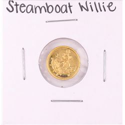 "Rarities Mint Disney Mickey ""Steamboat Willie"" 1 Gram .999 Fine Gold Round"