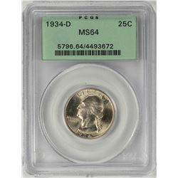 1934-D Washington Quarter Coin PCGS MS64 Old Green Holder