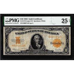 1922 $10 Gold Certificate Note Fr.1173 PMG Very Fine 25EPQ